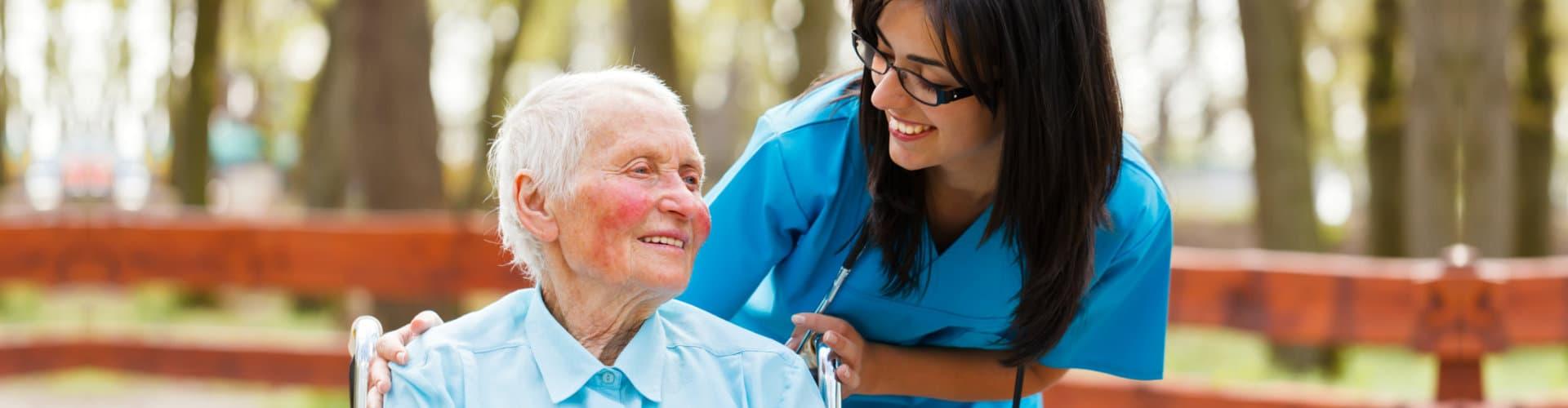 caregiver accompanying her senior patient